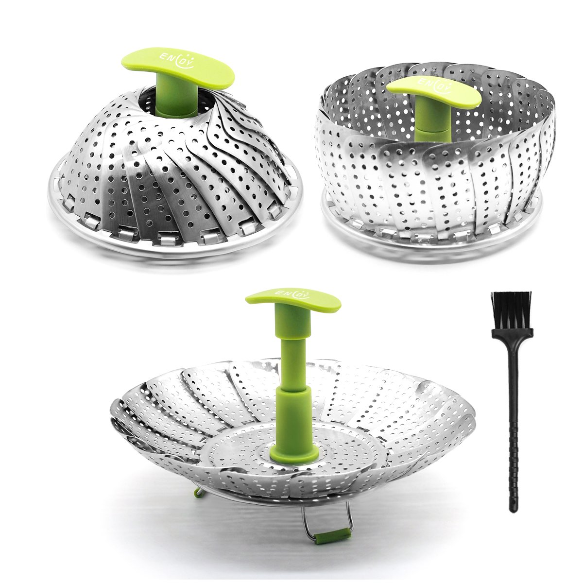 Steamer Basket Stainless Steel Vegetable Steamer Folding Steamer Insert for Veggie Fish Seafood Cooking with Cleaning Brush & Great Grips, Expandable to Fit Various Size Pot (6