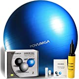 POVUMGA Exercise Ball Heavy Duty Anti-Burst Fitness-Birthing-Stability-Core-Pilates-Gym Balls for Pregnancy, Balance Ball for Desk Chair 55/65/75/cm with Hand Pump