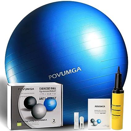 POVUMGA Exercise Ball Heavy Duty Anti-Burst Fitness-Birthing-Stability-Core-Pilates-Gym Balls for Pregnancy, Balance Ball for Desk Chair 55/65/75/cm ...