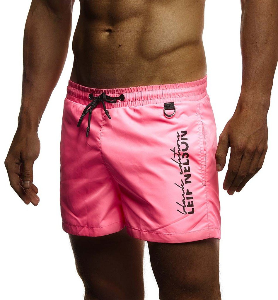 Leif Nelson Men's Summer Swimwear Swim Shorts with Pockets LN9215; Size M, Pink