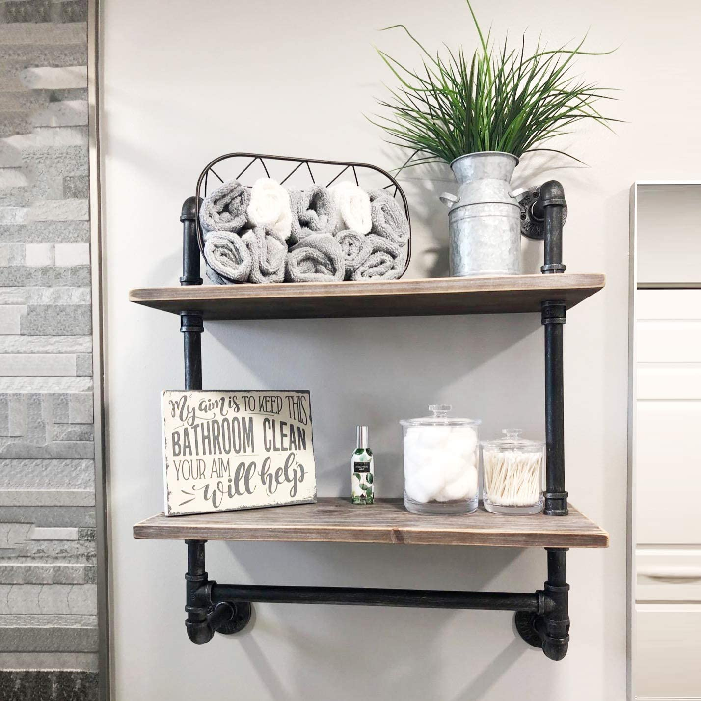 Amazon Com Ucared 2 Tier Vintage Industrial Pipe Bathroom Shelves Wall Mounted 24 Rustic Wall Shelf With Bath Towel Bars Farmhouse Towel Rack Metal Wooden Floating Shelves Over The Toilet Storage Shelf Kitchen Dining