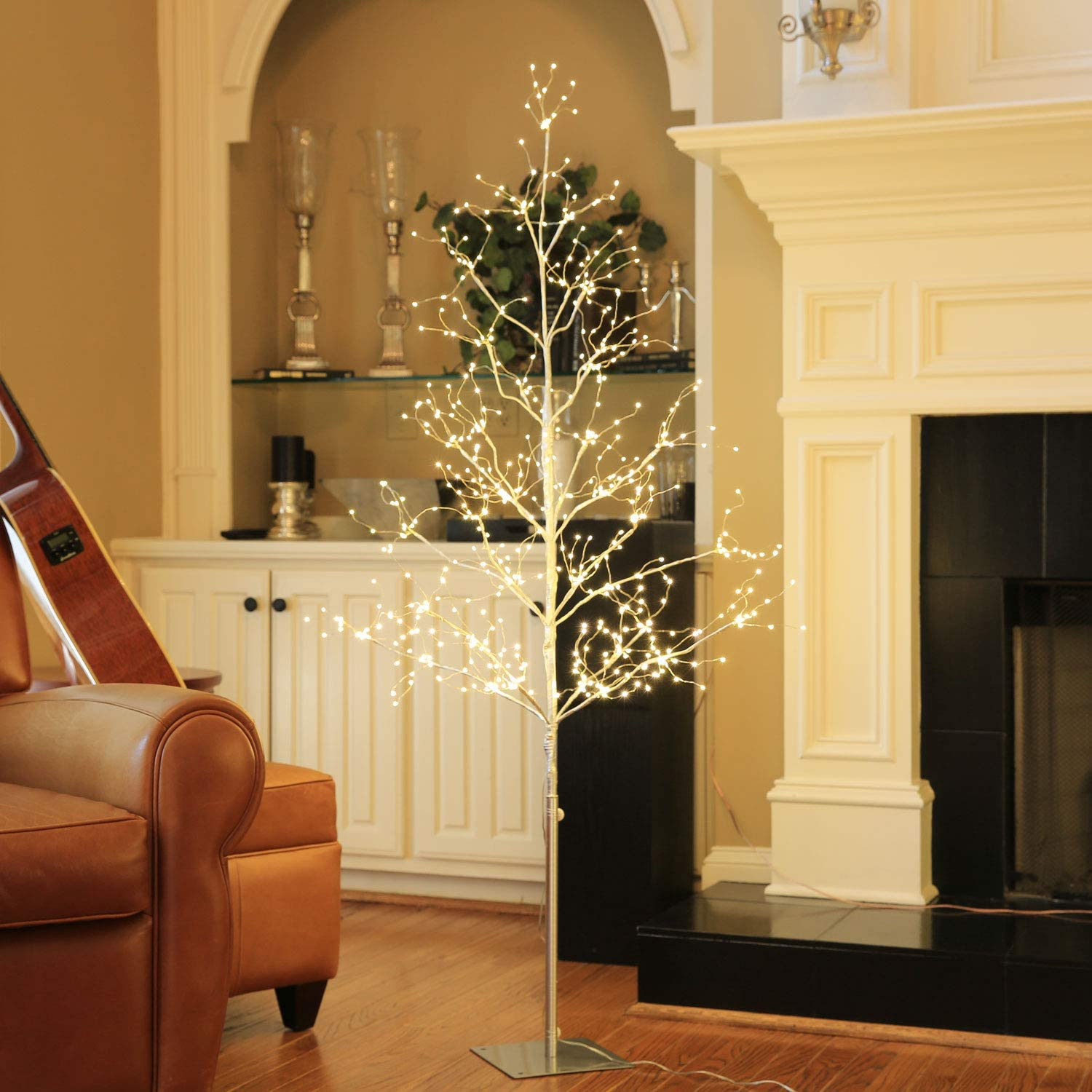 LIGHTSHARE 5 ft. LED Tree - Starlit Tree Collection with Warm White LED Angel Lights, 5 Feet, Silver, Perfect for Home Décor Holiday Party Wedding