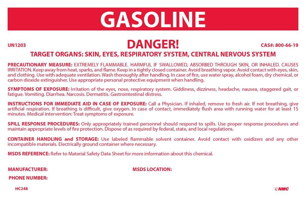 National Marker HC248 Container Labels, Gasoline, 3 1/4 inches X 5 inches, PS Vinyl, 10/Pk