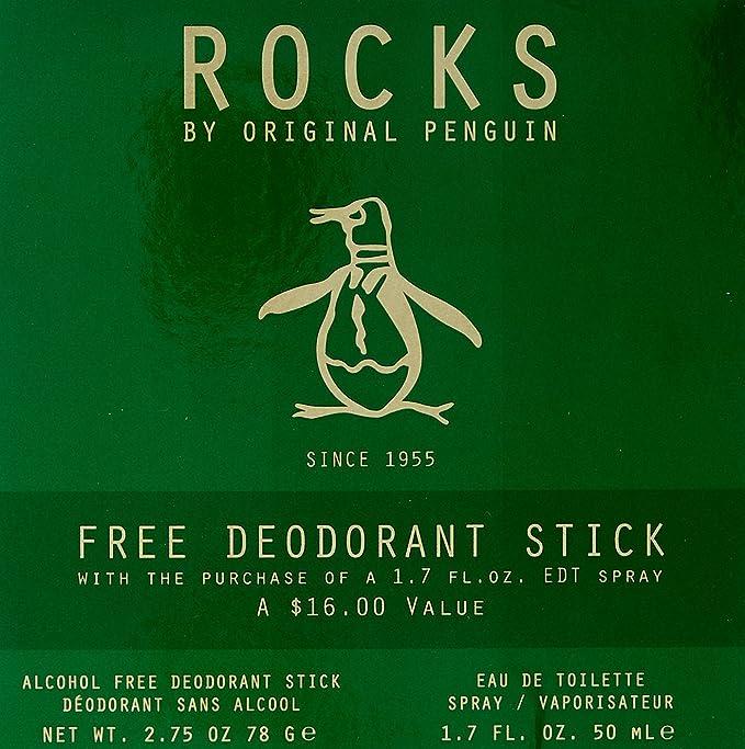 Penguin Rocks Eau De Toilette Spray and Deodorant Stick Gift Set for Him PEN-ROC