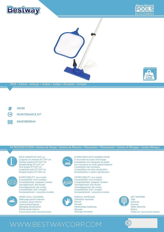 Bestway 58098 - Kit de Limpieza Recogehojas, Limpiafondos y ...