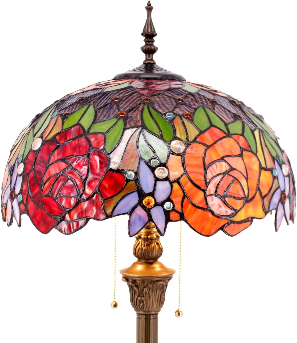 Tiffany Style Floor Standing Lamp 64 Inch Tall Stained Glass Red Rose Design Shade 2E26 Antique Base for Bedroom Living Room Reading Lighting Table Light S001 WERFACTORY