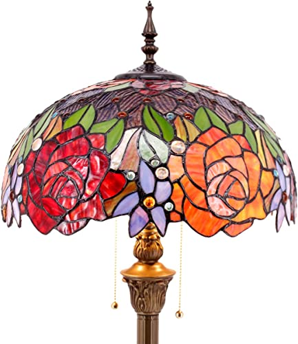 Tiffany Style Floor Standing Lamp W16H64 Inch Tall Stained Glass Red Rose Shade 2E26 Antique Read Lighting Resin Base S001 WERFACTORY LAMPS Bedroom Living Room Bedside Coffee Table Bookcase Lover Gift