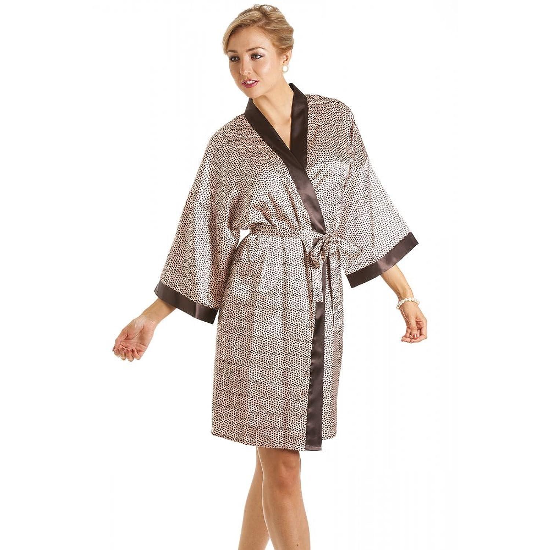 Robe de chambre en satin pour femme imprimé animal tailles 36