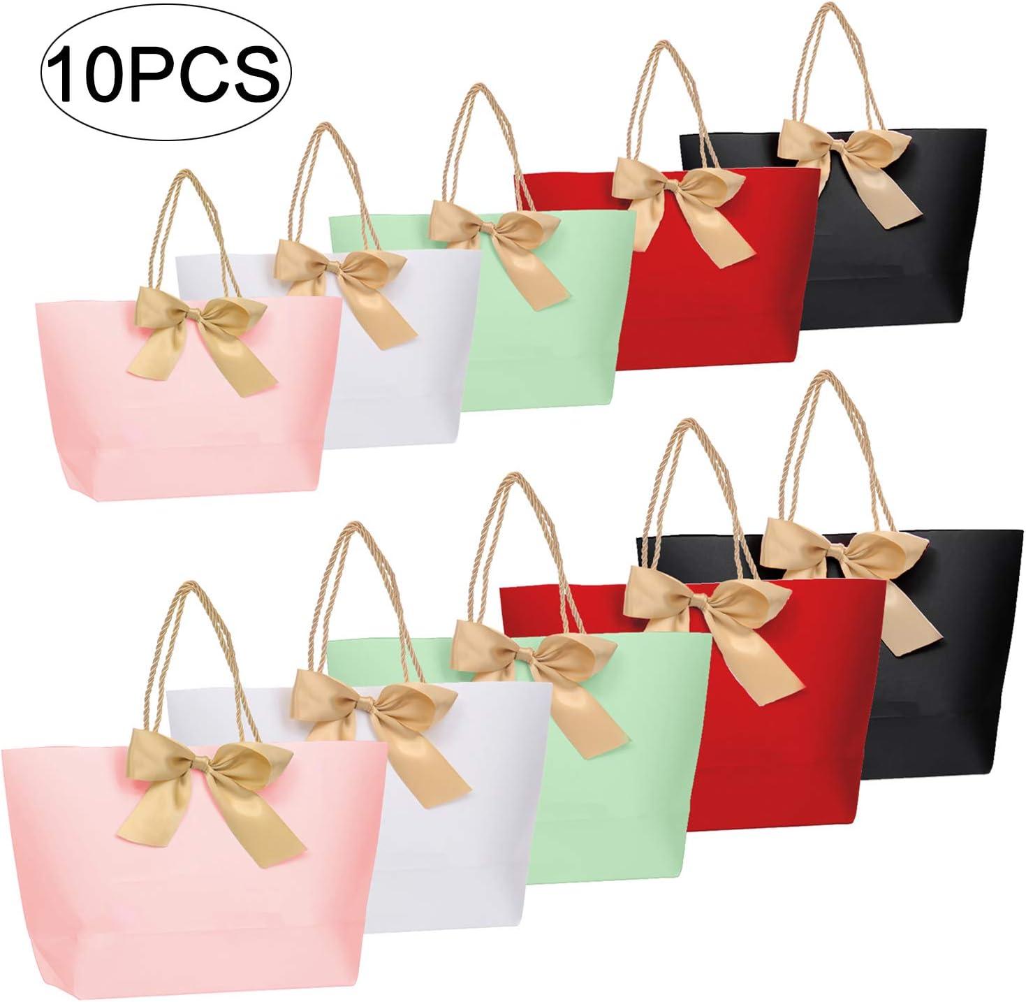 Bolsas de papel para fiestas, 10 piezas Bolsas de regalo con asas y cinta de lazo, Bolsas de regalo para cumpleaños Celebración de fiesta de bodas Papel de regalo (Multicolor)