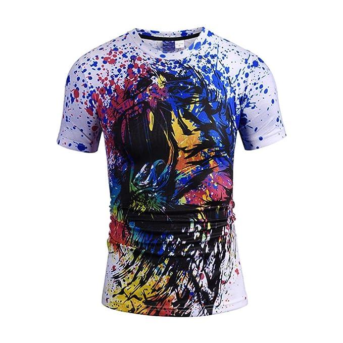 0c66d96853410 Mose Color Lion Head Print Top for Men Fashion Men's Casual Graffiti ...