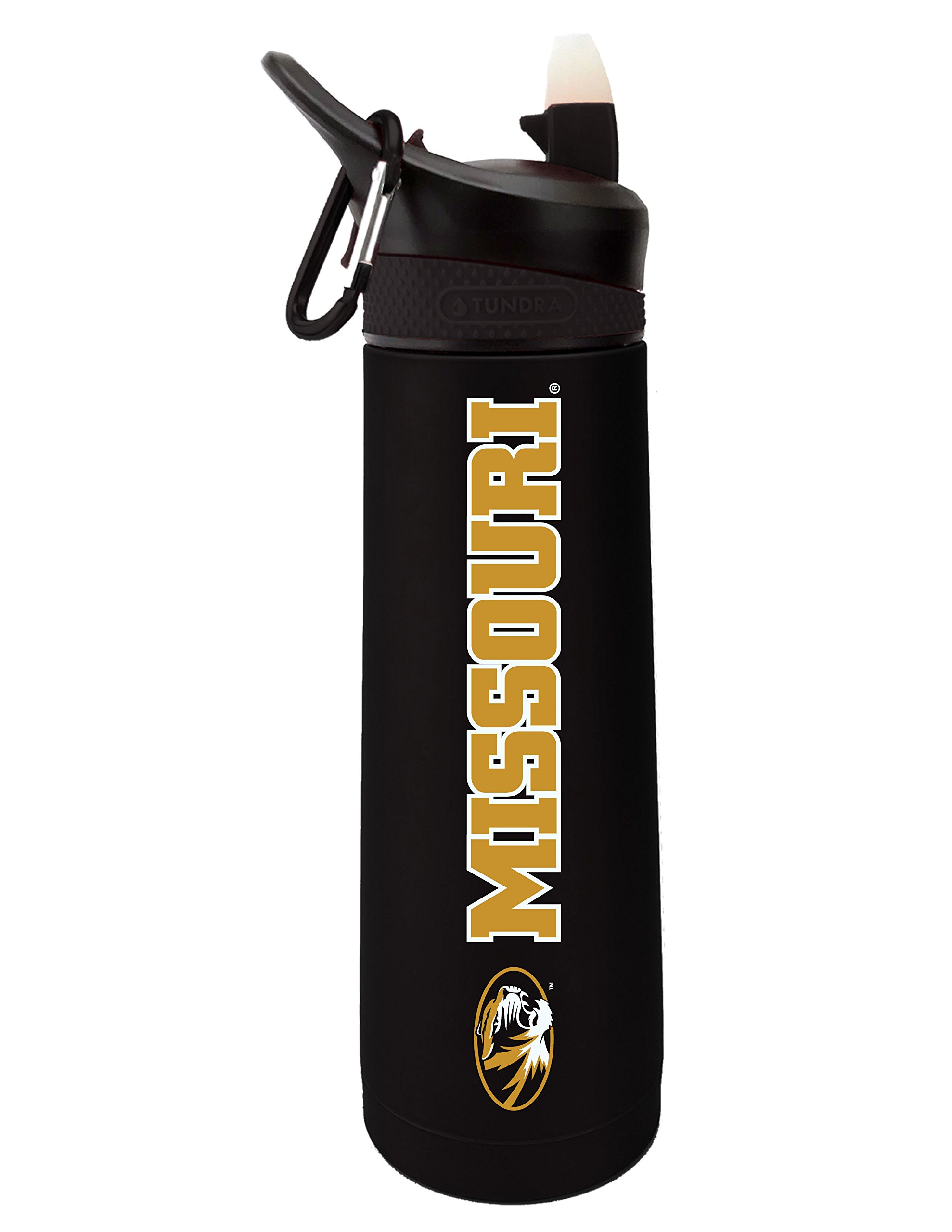 The Fanatic Group University of Missouri Dual Walled Stainless Steel Sports Bottle, Design 1 - Black
