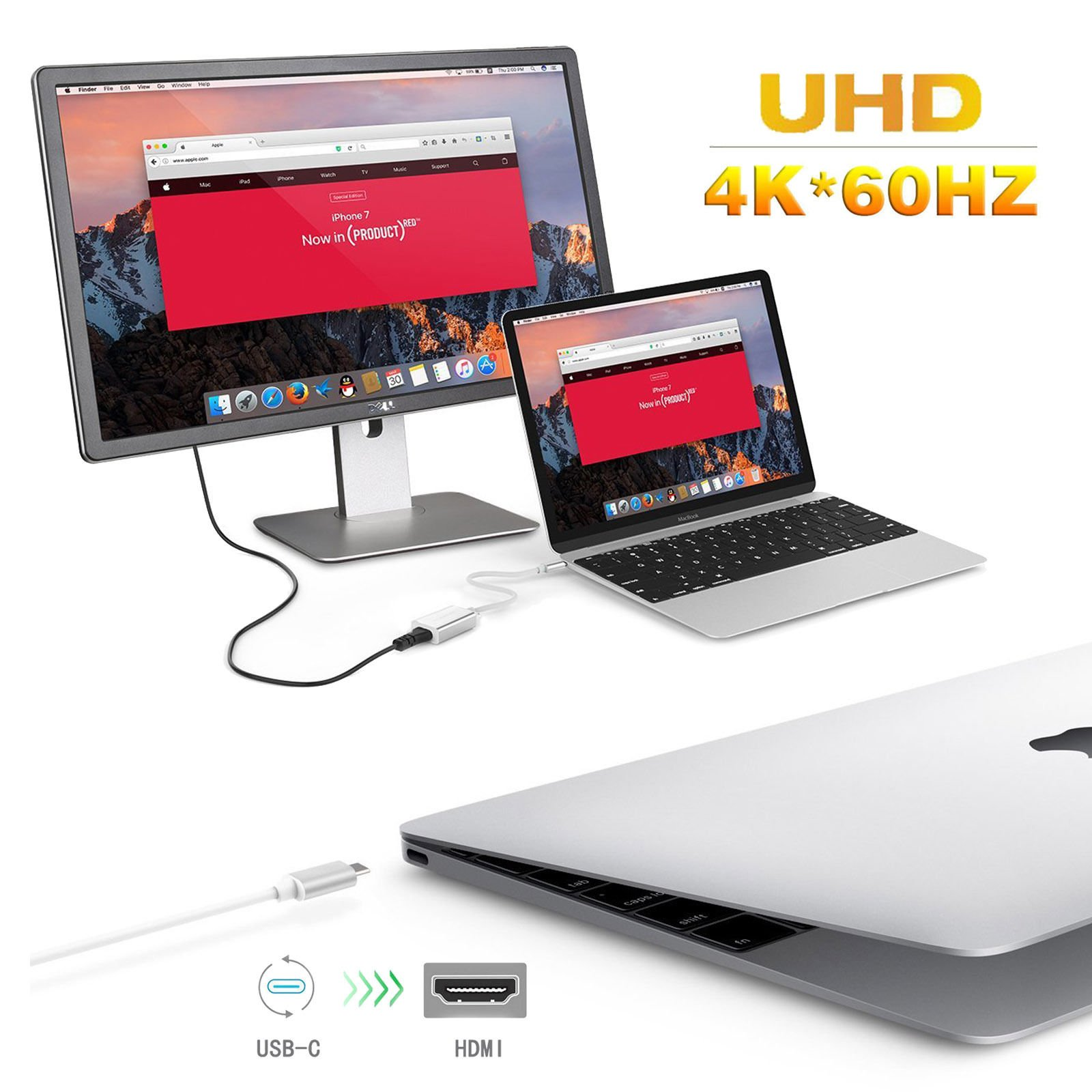 YCD USB 3.1 Type-C to HDMI Adapter, Thunderbolt 3 to HDMI 4K UHD Adapter Supports 4K/60Hz, for The 2016 MacBook Pro, MacBook 12'' (2015), ChromeBook Pixel, Dell XPS 15 and more by ONTEN (Image #3)