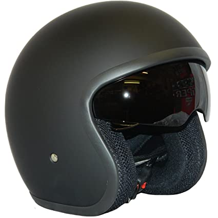 Casco de la Motocicleta Jet Casco Cascos Abiertos VIPER RS-V06 Casco de Moto Con Visera Nuevos Colores (XL, Matt Negro)