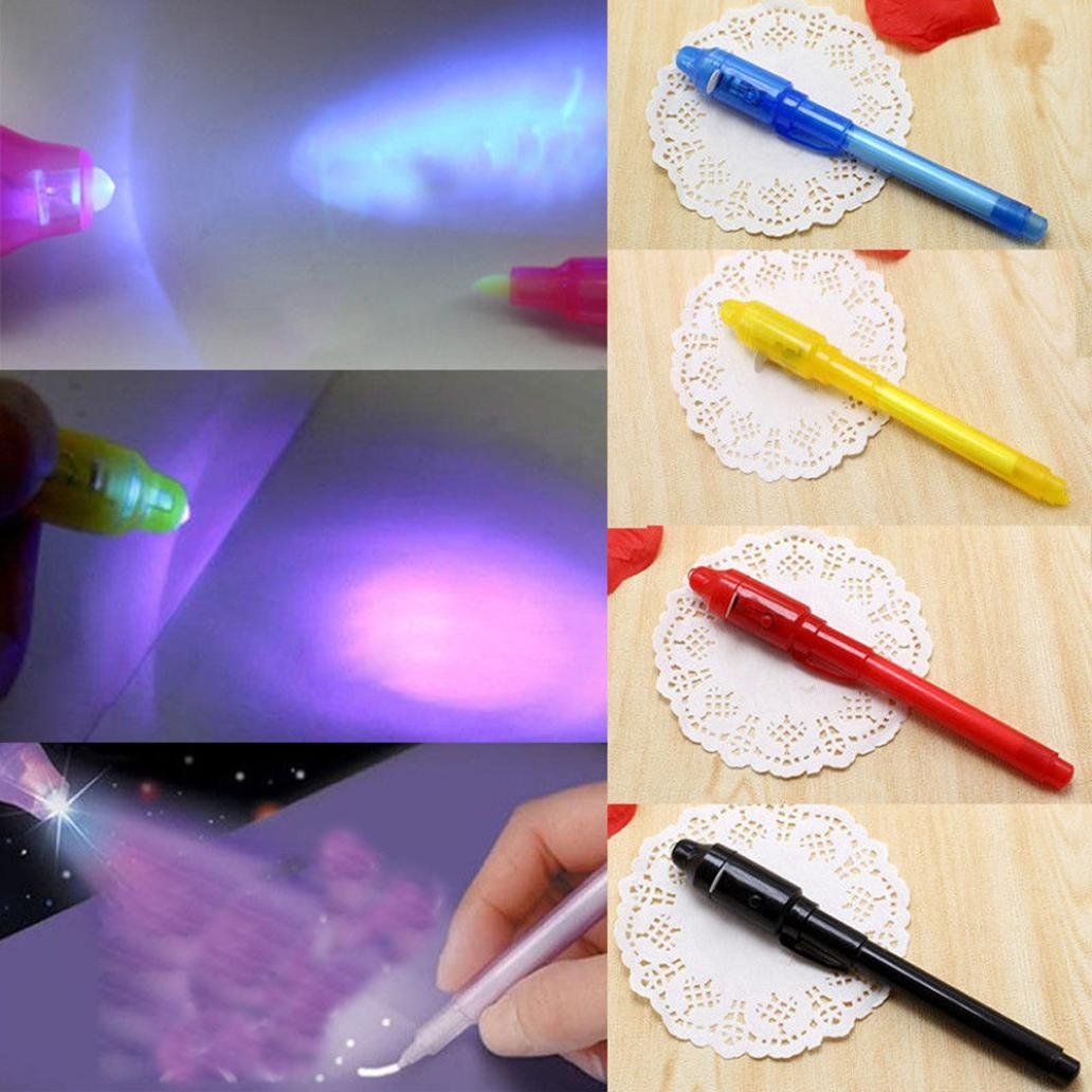 E-SCENERY Invisible Ink Pen, Spy Pen with Built in Uv Light Magic Marker for Drawing Secret Message Writing Currency Checking Kids Spy Game Party (Black) by E-SCENERY (Image #5)