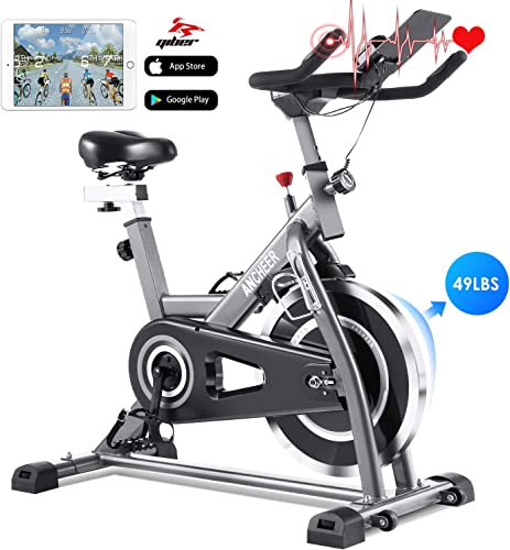 ANCHEER Indoor Cycling Bike Stationary Exercise Bikes with 49LBS Flywheel, Adjustable Resistance and LCD Monitor for Home Exercise Cardio Training, APP Control, Silver