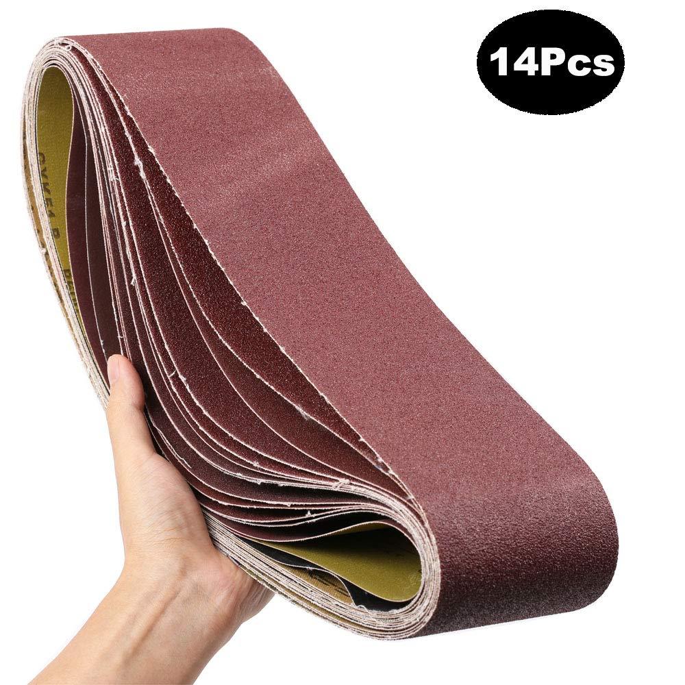 4x36-Inch Sanding Belt, MAXTUF Aluminum Oxide Sanding Belt Premium Sandpaper For Portable Belt Sander Polishing Wood, Knife and Grinding Fiberglass, 2 Each of 60 80 120 150 240 400 600 Grits, 14-Pack