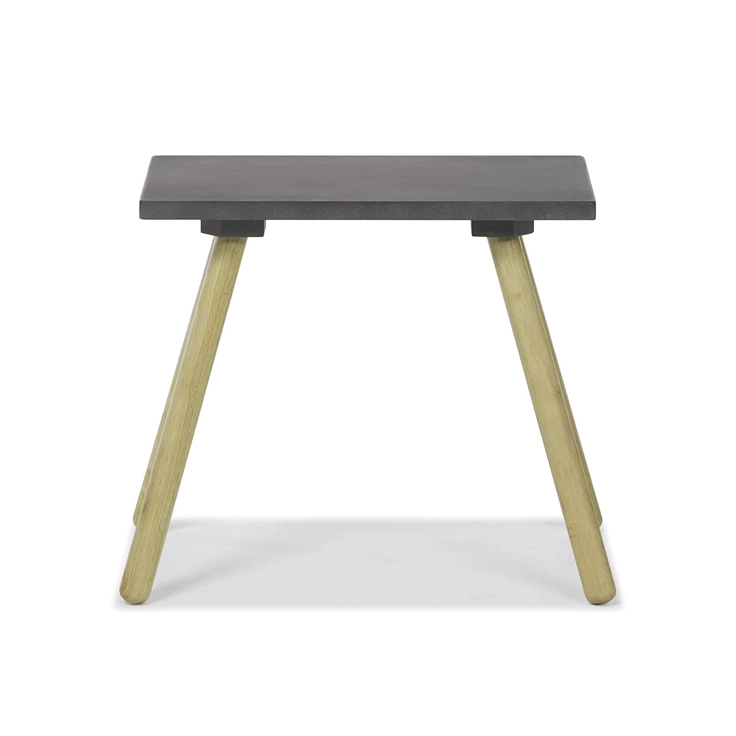 Ansel Mid-Century Modern Faux Cement Finish Accent Table use as End, Side, Bedside Table