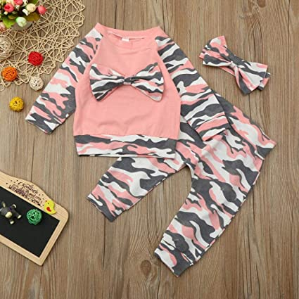 c5828687f77df HEHEM Baby Clothes Girl Boy Newborn Toddler Baby Girls Boys Camouflage Bow Tops  Pants Outfits Set Clothes Unisex Outfits Baby Clothes Rompers Suit Jumpsuit  ...