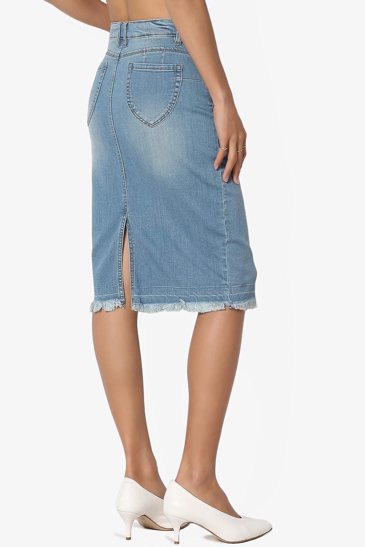 80ae6e5ba99 TheMogan Butt Lift Wash Jean Pencil Knee Length Midi Stretch Soft Denim  Skirt at Amazon Women s Clothing store