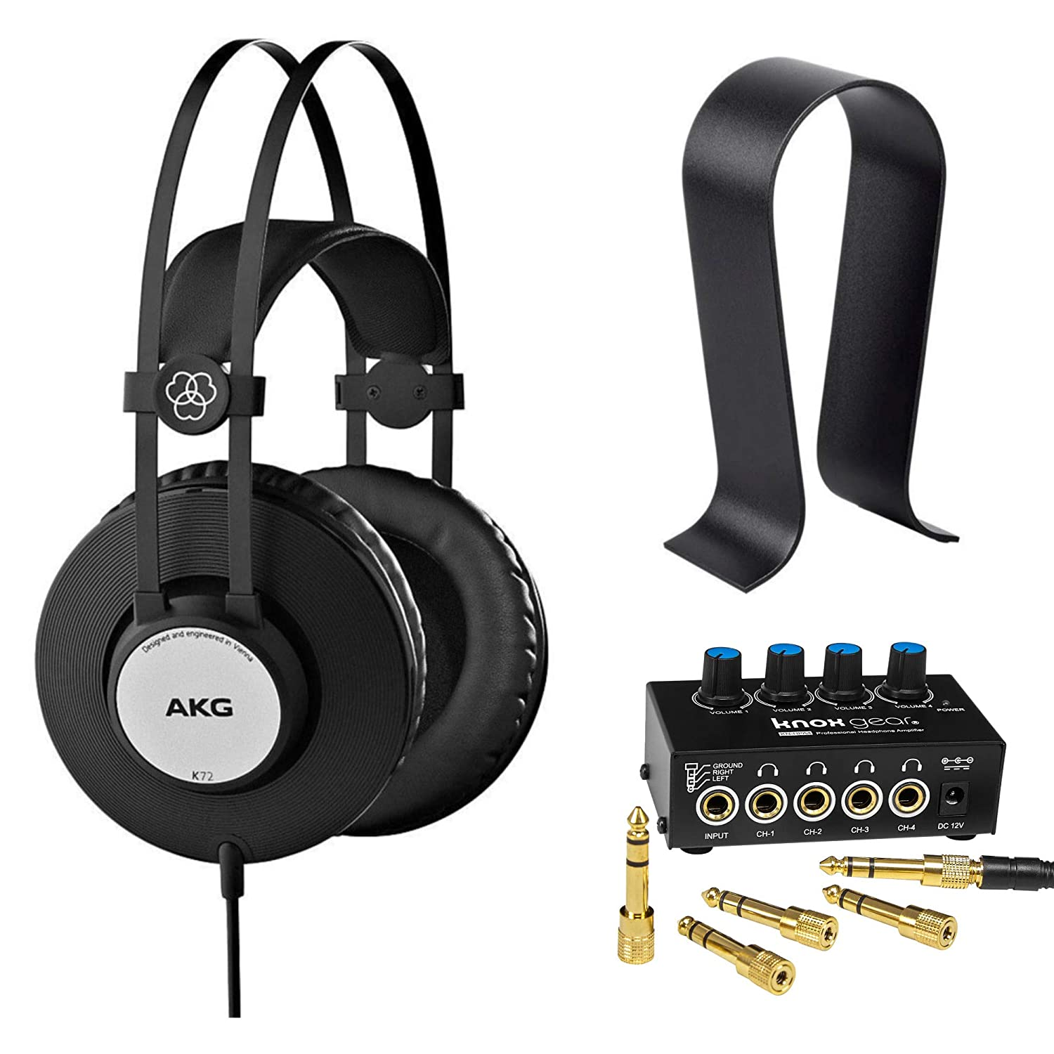 AKG K72 Professional Closed-Back Studio Headphones with Knox Gear Headphone Amplifier and Stand