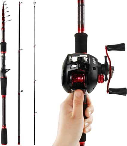 Amazon Com Reawow Carbon Fiber Fishing Rod And Reel Combos Portable Telescopic Deep Sea Gun Handle Fishing Rod With Baitcast Reels For Bass 2 Pieces For Travel Right Sports Outdoors