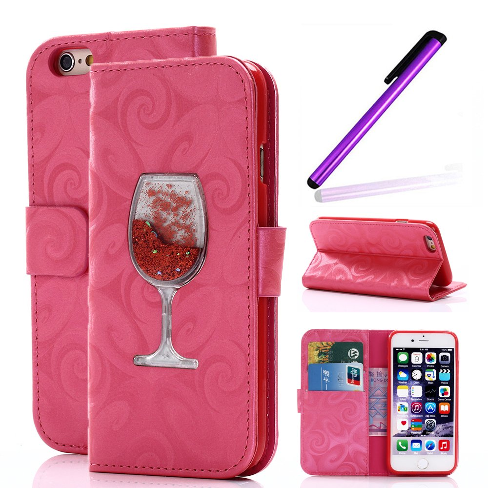 Magnetic Closure Wallet Case with Glitter Wine Glass for iPhone 6/6S Plus Pink