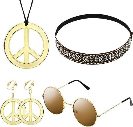 Kit d'Ensemble de Costume Hippie pour Femmes et Hommes Inclure Lunettes de Soleil, Collier Signe de la Paix et Boucle d'Oreille Signe de la Paix,