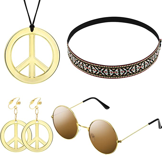 60s -70s Jewelry – Necklaces, Earrings, Rings, Bracelets Hippie Costume Set for Women Kit Includes Sunglasses Peace Sign Necklace and Peace Sign Earring Bohemia Headband for 60s 70s Party Accessories $8.99 AT vintagedancer.com