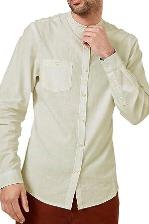 Caballeros Lino Camisa Deshilachado Cuello Mao Manga Larga Trabajo Informal Verano Nuevo - Piedra - kmv071pka, Small: Amazon.es: Ropa y accesorios