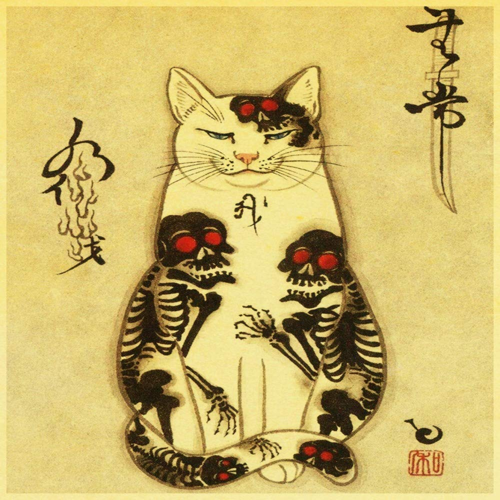 zxddzl Samurai Gato Tatuaje Gato Retro Cartel Pegatina impresión ...