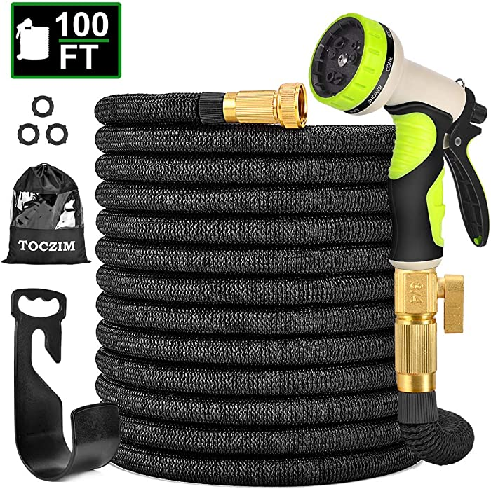 "TOCZIM 100ft New Expandable Garden Hose - Superior Strength 3750D, 4-Layers Latex with 3/4"" Solid Brass Connectors, 9 Function Spray Nozzle, Easy Storage Kink Free Flexible Lightweight Water Hose"