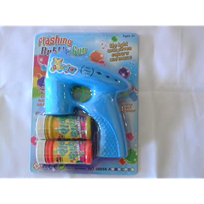 LED Flashing Bubble Gun with 2 bottles of bubbles: Toys & Games