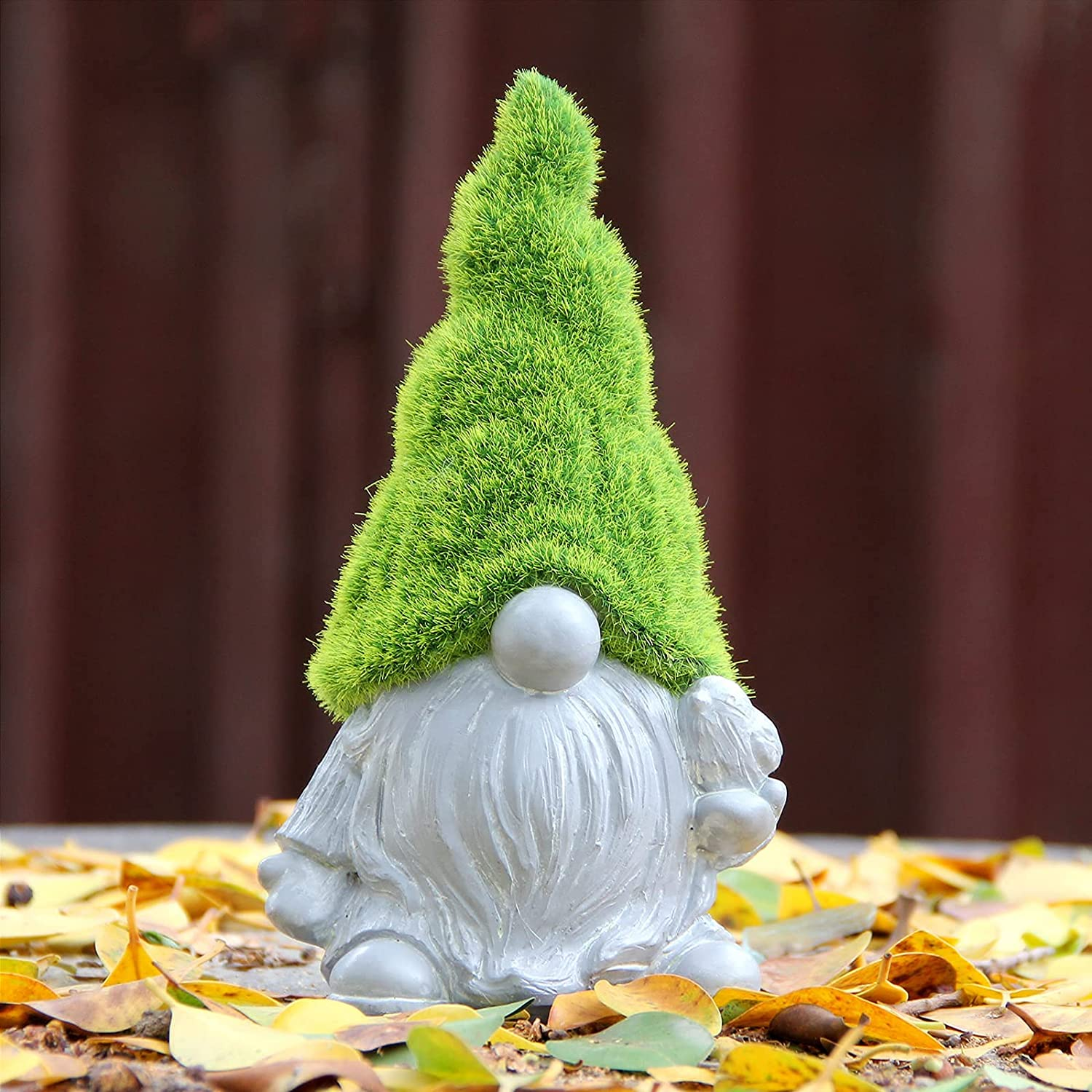 Leekung Garden gnome Statue Outdoor Decor,Flocked Gnomes Garden Decorations,Indoor gnome Sculpture Figurine Cement Color for Home Decoration