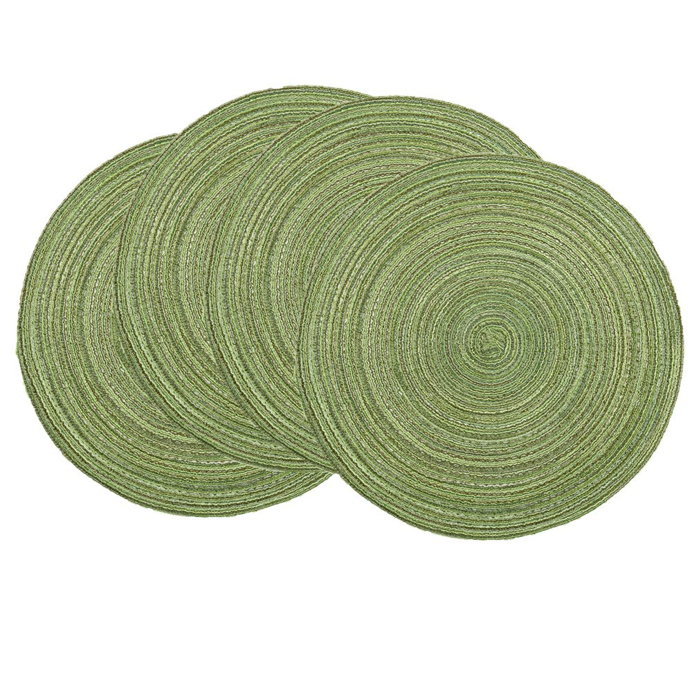 SHACOS Round Placemats Set of 4 Round Table Placemats Braided Cotton Place Mats 15 inch for Kitchen Dining Table Holiday Party (Pea Green, 4)