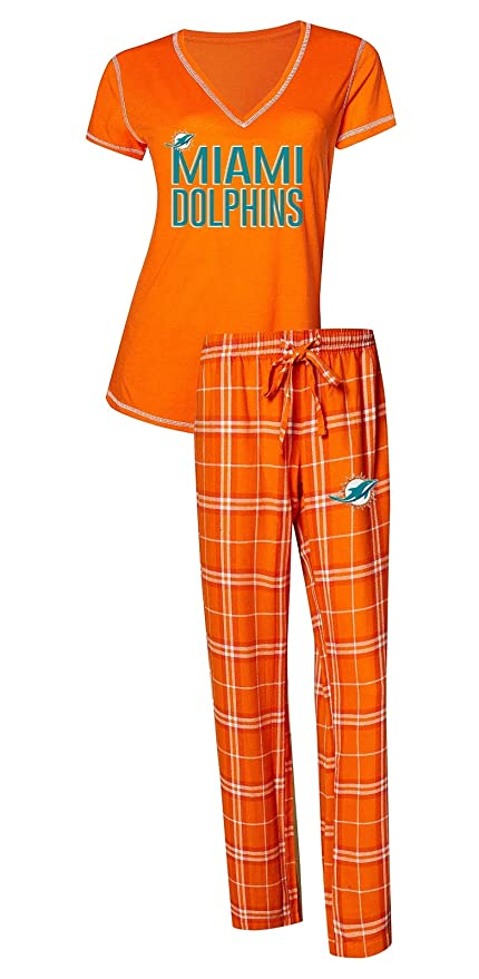 52479bff Concepts Sport Miami Dolphins NFL Super Duo Women's T-Shirt & Flannel  Pajama Sleep Set
