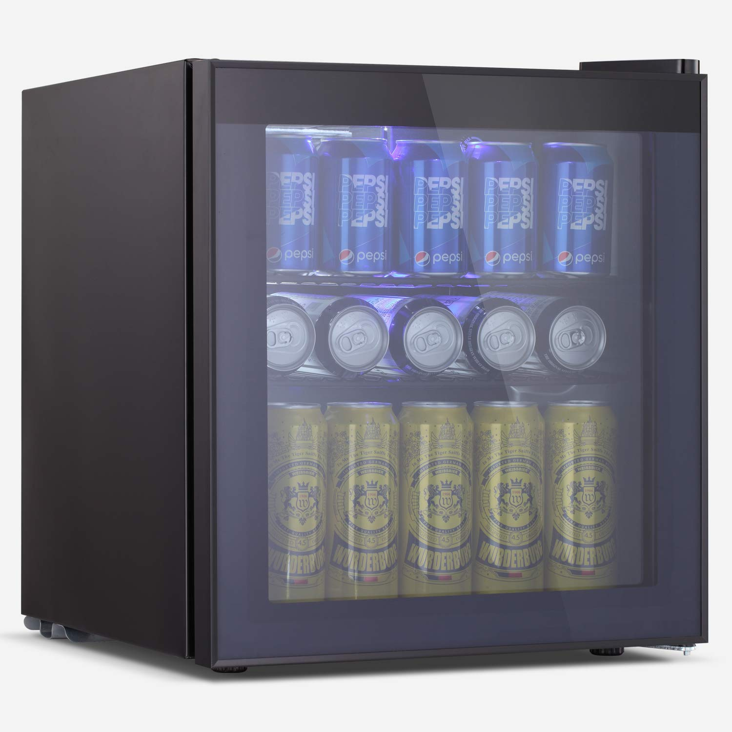BOSSIN Beverage Refrigerator and Cooler, 60 Can Capacity with Smoky Gray Glass Door for Soda Beer or Wine,Compressor Touch Panel Digital Temperature Display for Home, Office, Bar(1.6 cu.ft)