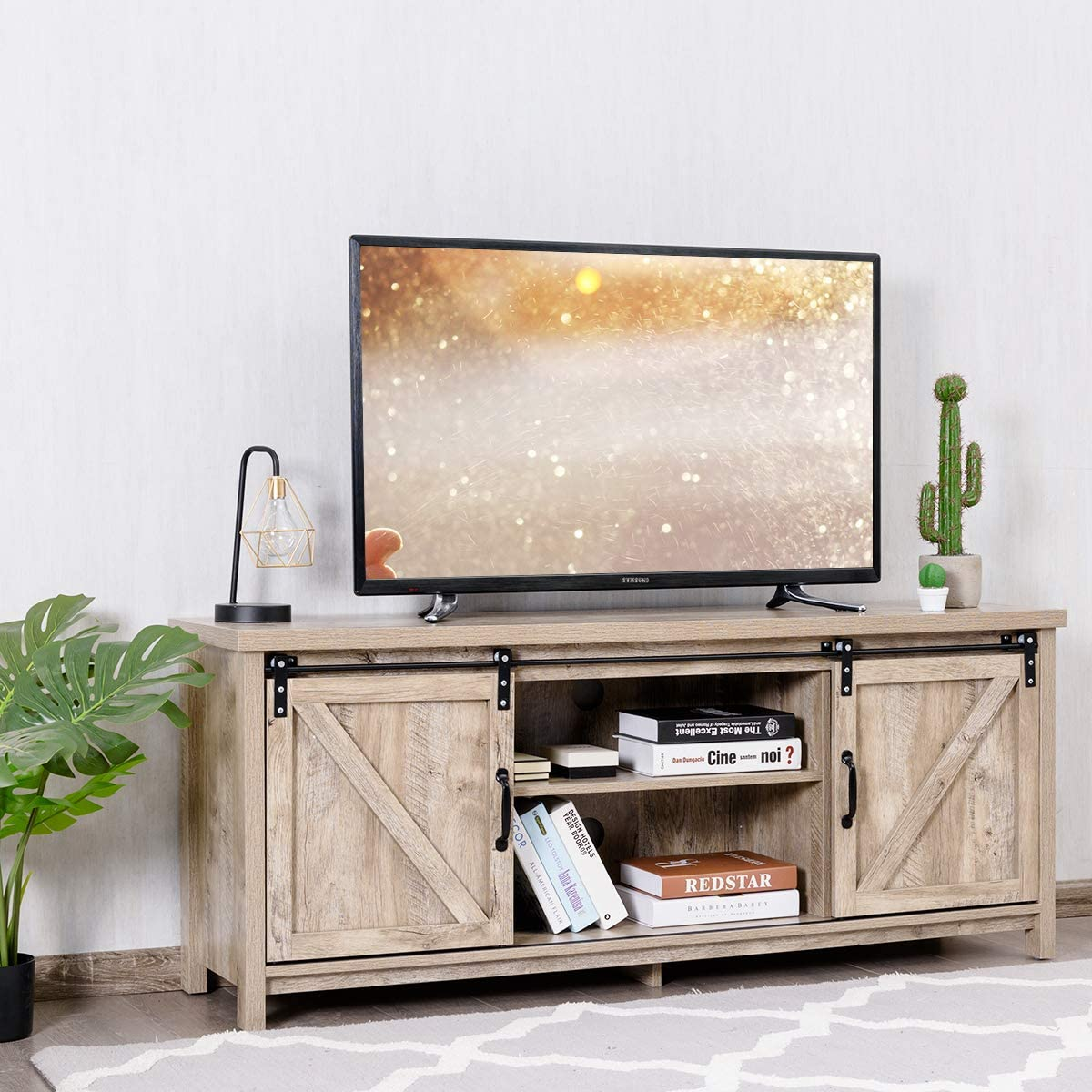 Tangkula Wood TV Stand for 65 Television, TV Ark with Sliding Barn Doors, Wooden TV Cabinet with 2 Center Compartments and 2 Cabinets, Barn Door TV Stand, Natural Design White Oak