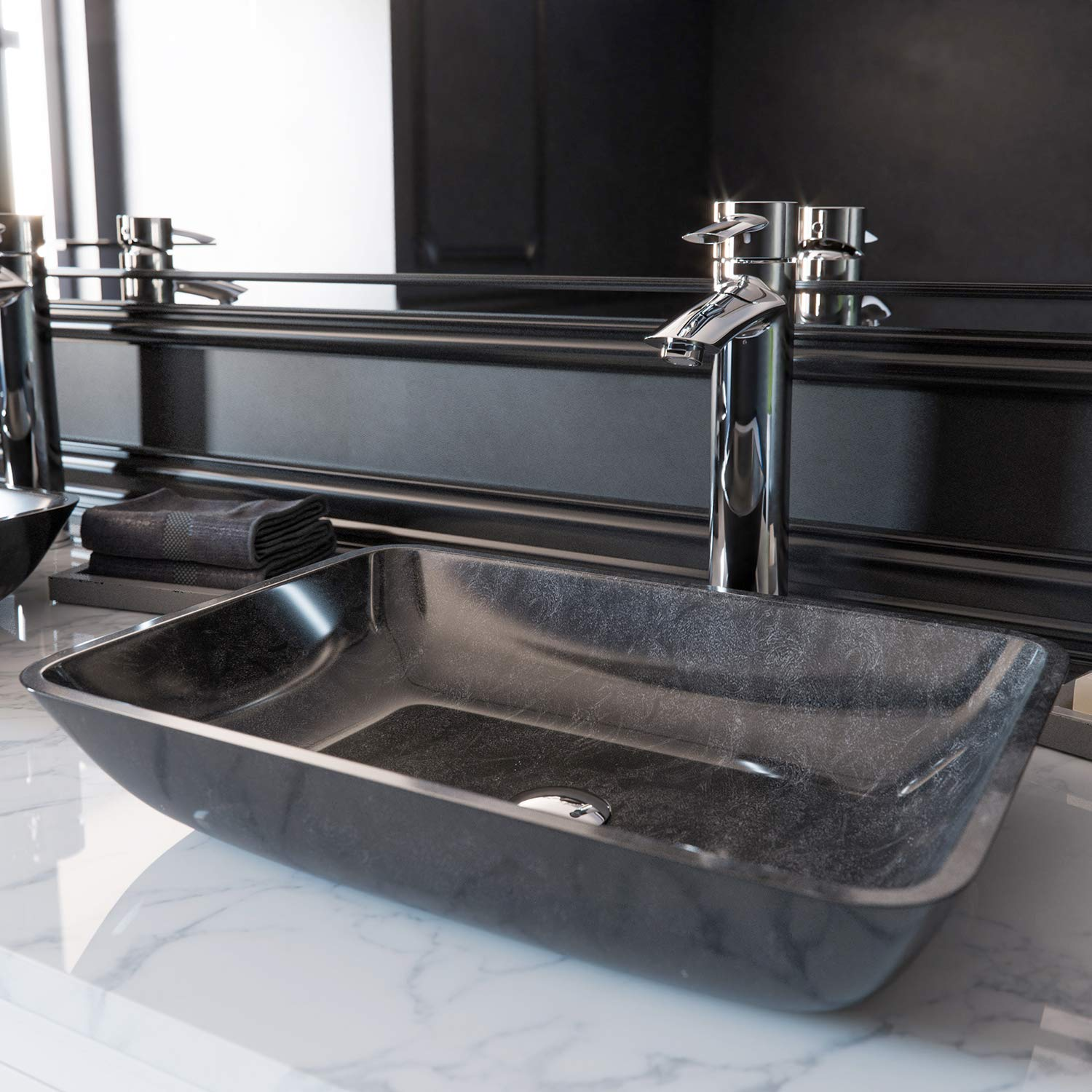VIGO VG07084 Glass Above counter Rectangular Bathroom Sink, 17.875 x 13 x 4 inches, Gray Onyx