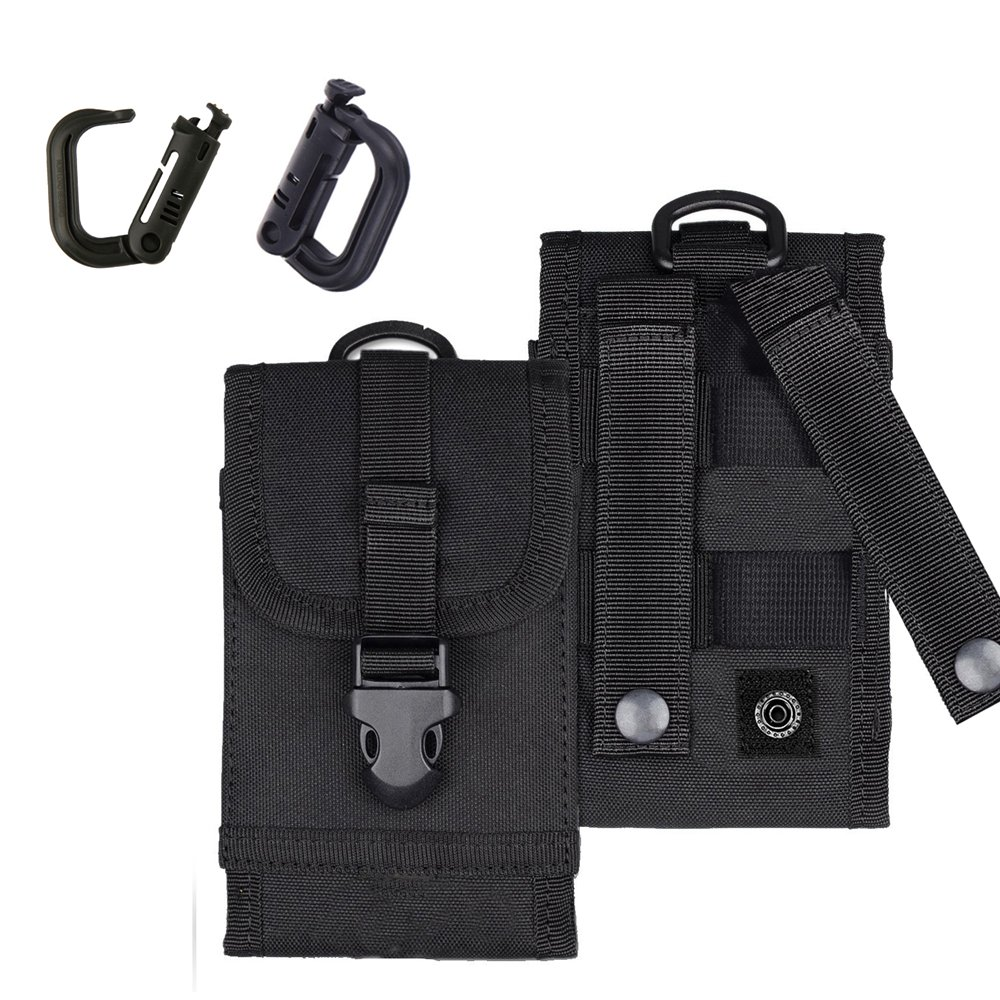 MOLLE Tactical Pouch Army Waist Holster Cell Phone Bag for iPhone 7 Plus Android w/ Bonus Belt Clip Grimloc Locking D-ring