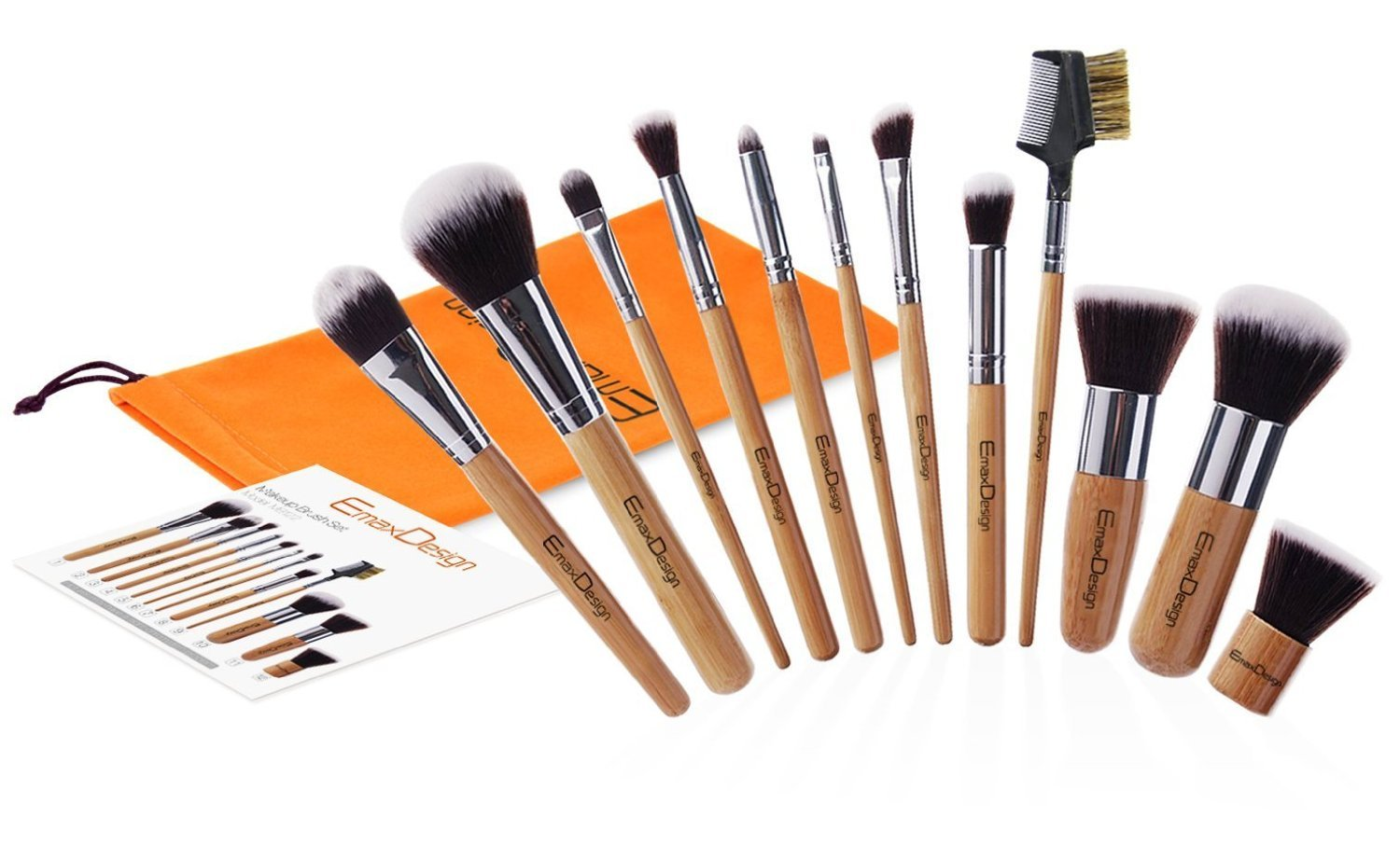 EmaxDesign 12 Pieces Makeup Brush Set Professional Bamboo Handle Premium  Synthetic Kabuki