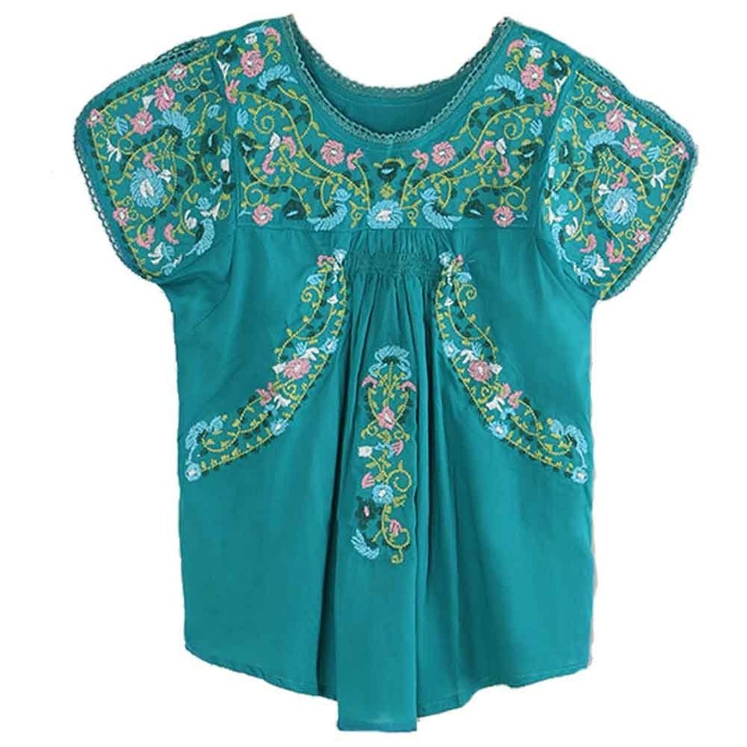 Kafeimali Women S Peasant Tops Mexican Blouse Colorful Flowers