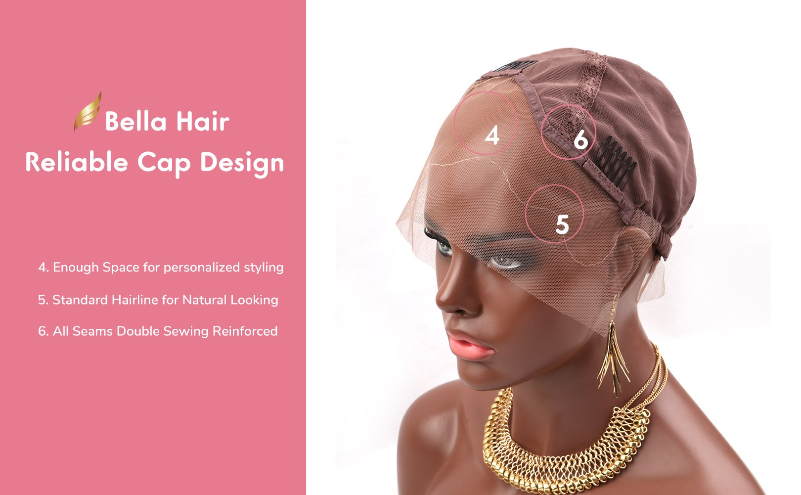 [Upgraded] Bella Hair Breathable Lace Front Wig Cap for DIY Making Wigs with Adjustable Straps and Combs, Light Brown Medium Size by Bella Hair (Image #5)