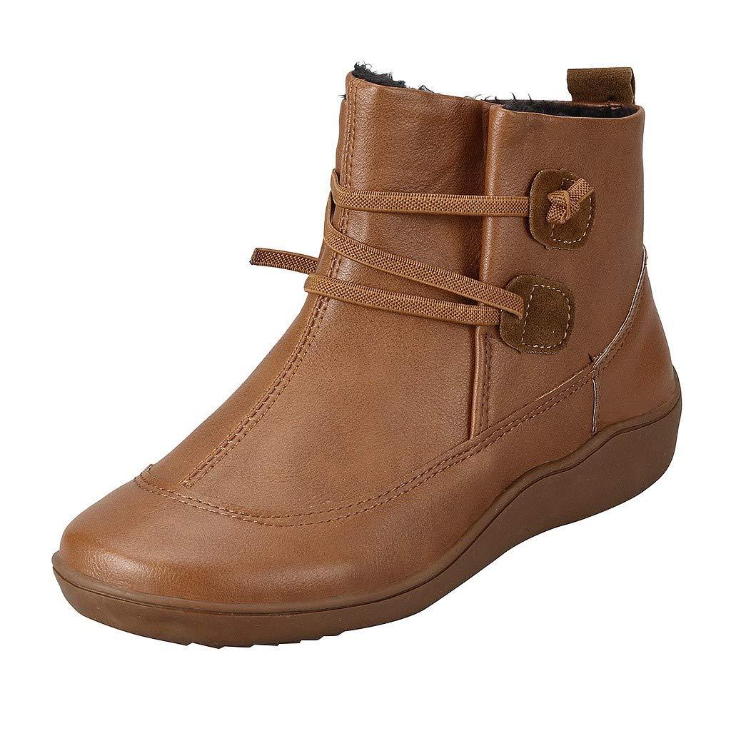 Alwayswin Frauen Vintage Lederstiefel Flache wasserdichte Schneestiefel Plus Samt Warme Winterstiefel Winter Outdoor Ankle Boots Flache Slip-On Stiefeletten rutschfeste Kurze Stiefel