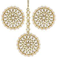 Aheli Wedding Wear Faux Kundan Beaded Round Earrings with Maang Tikka Set Ethnic Indian Jewelry for Women