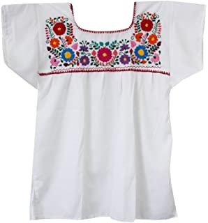 afb3b2376f44b Amazon.com  Mexican Solid White Embroidered Peasant Blouse Puebla ...
