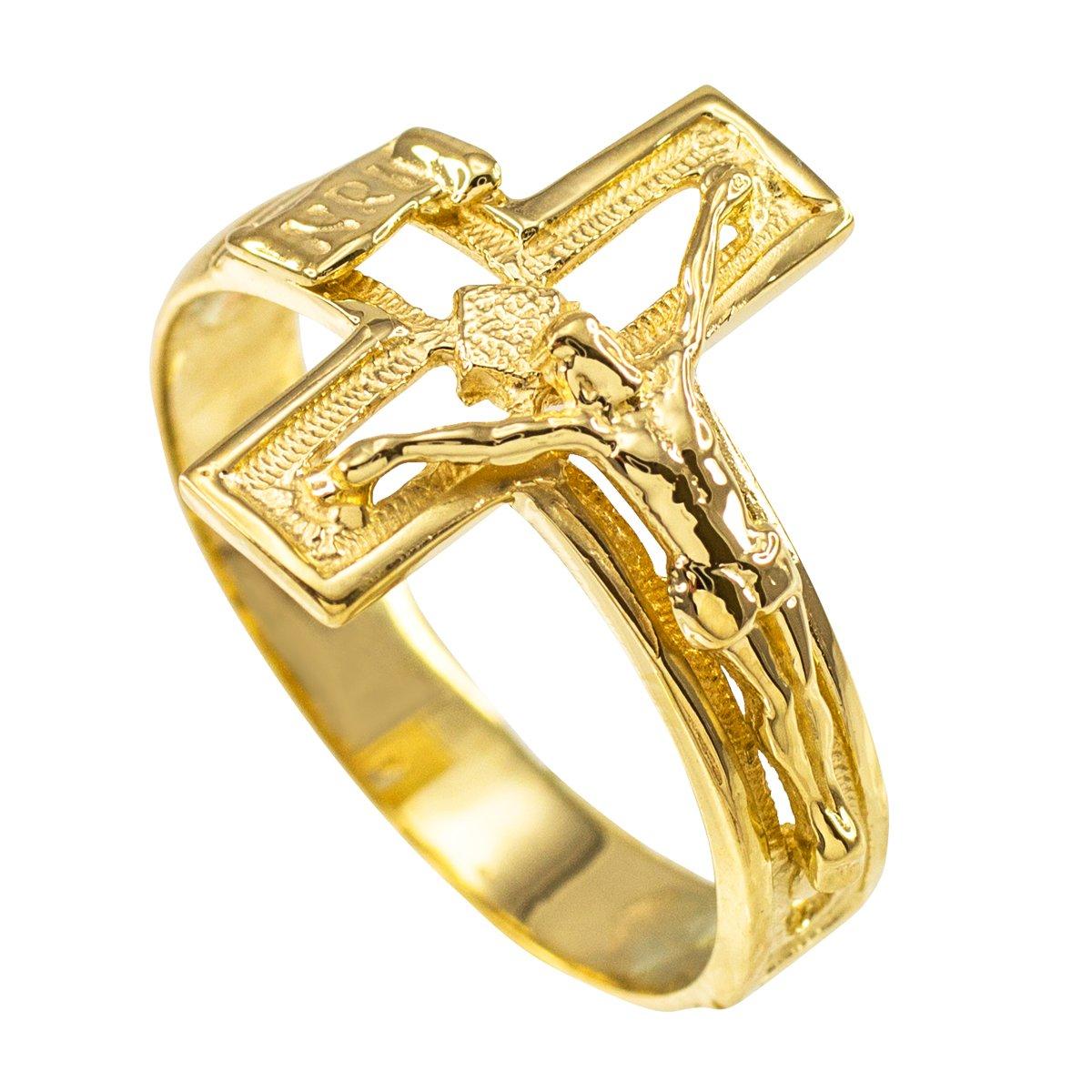 ソリッド10 Kイエローゴールドオープンデザインクロスバンド十字架リング B010GPTKUO 10