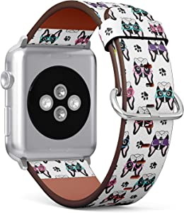 Compatible with Apple Watch Series 5, 4, 3, 2, 1 (Big Version 42/44 mm) Leather Wristband Bracelet Replacement Accessory Band + Adapters - Cute French Bulldogs Glasses