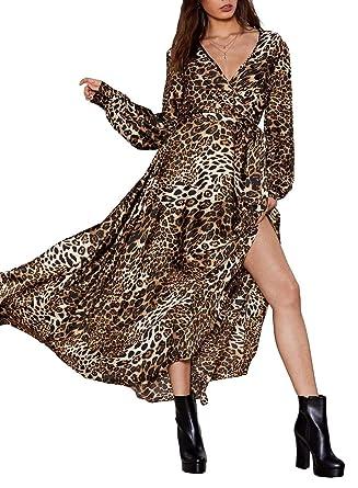 cac51be2c24bc Women's Sexy V Neck Leopard Print Long Sleeve Belt Split Maxi Dress at  Amazon Women's Clothing store: