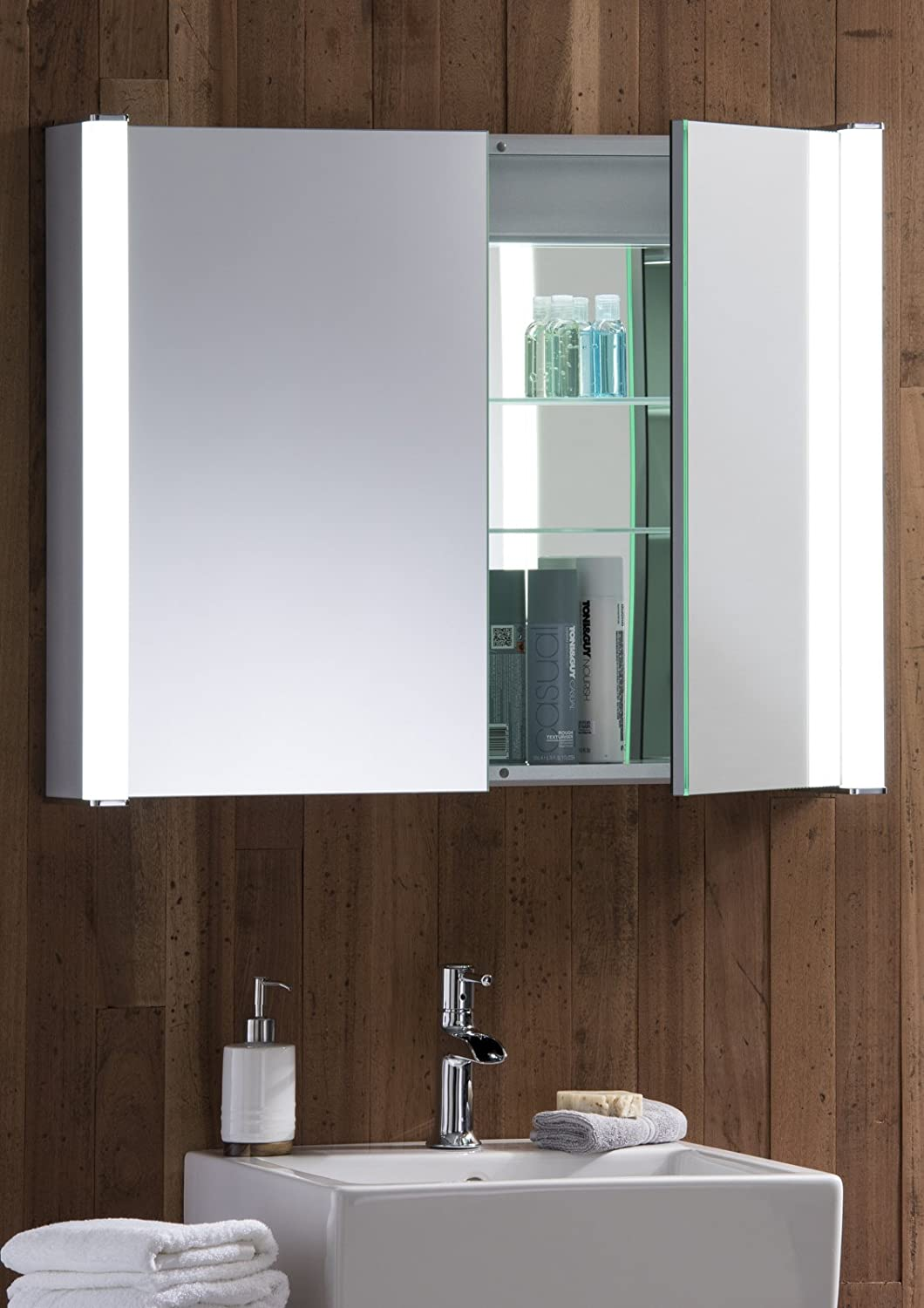 Led Illuminated Bathroom Mirror Cabinet With Demister Heat Pad Shaver And Sensor Switch With Lights 65cm H X 80cm W X 16cm D C13 Amazon Co Uk Kitchen