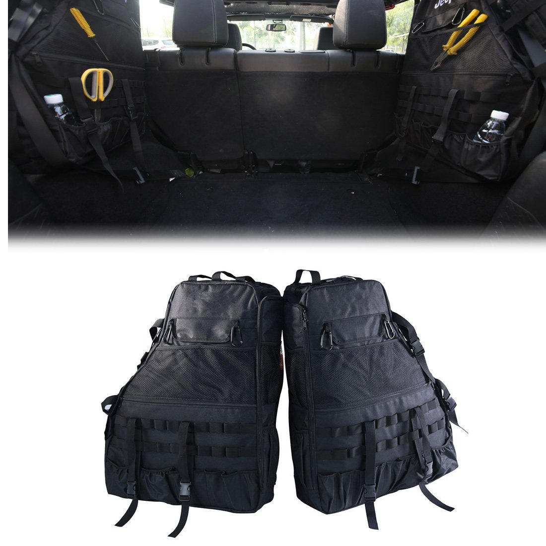 Jeep Storage Bag, Multi-Pockets 2 Side Roll Cage Cargo Organizer for Jeep Wrangler JK 4-door 2007~2017, Jeep Tool Kits Bottle Drink Phone Tissue Gadget Holder for Jeep 4 Door Only cartaoo